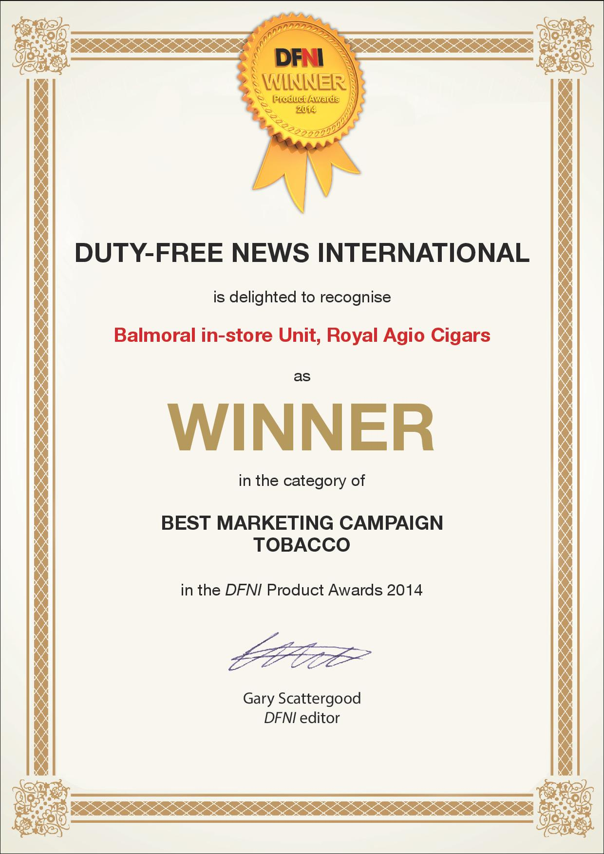 Agio Cigars wins DFNI Award